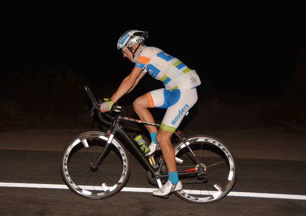 Pierre Bischoff at the night on RAAM 2016